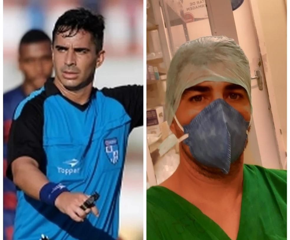 Árbitro de Portuguesa x Botafogo hoje, Rafael Martins de Sá também é enfermeiro e vem fazendo parte da linha de frente do combate ao coronavírus em um hospital em Maricá. É o primeiro jogo dele escalado desde a volta do Carioca https://t.co/12svrK6b0D