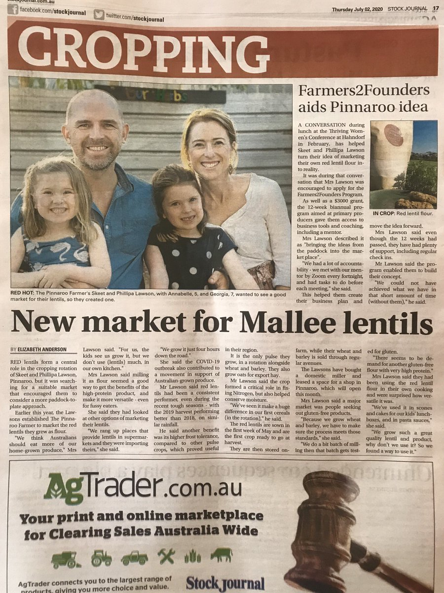 Without @Farmers2Founder our dream wouldn't have become a reality. We wholeheartedly cannot thank them enough. You can read our story working together in today's @stockjournal.