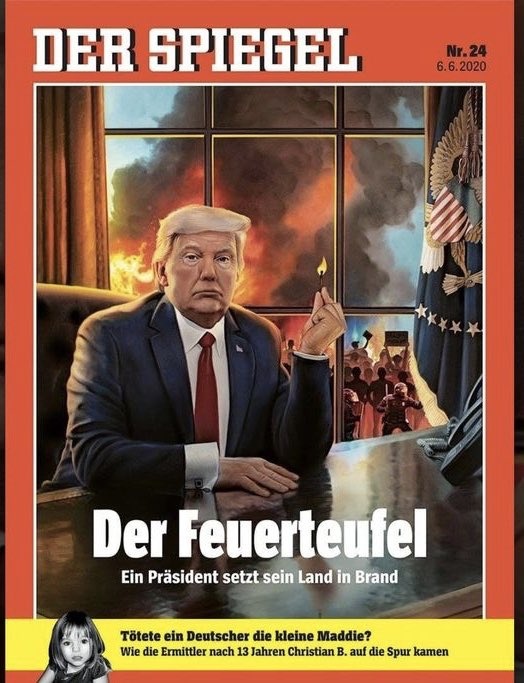 """.""""Der Spiegel...is out with a cover story that decries President Donald Trump's incendiary approach to governing. The cover illustration depicts a hubristic Trump holding a match in the Oval Office, while outside, as seen through the window behind him, Washington, D.C. burns. 1/2 https://t.co/mX3HBuAhzD"""