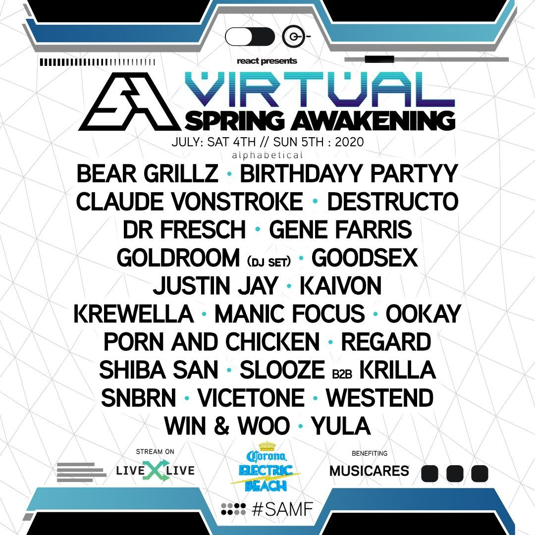 Were stoked to perform at the Virtual @SpringAwakeFest this weekend July 4-5th! You can stream it via @LiveXLive #SAMF