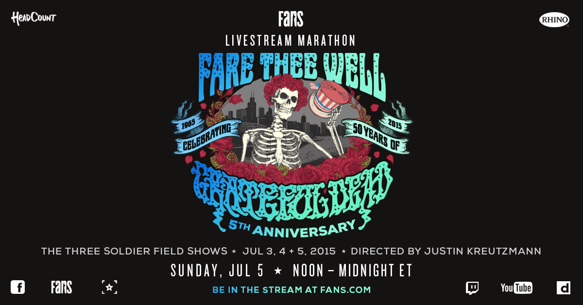 #SUNDAY ⚡️💀🌹 Don't miss the rebroadcast of #FareTheeWell, the iconic 3-night run from Soldier Field live on JUL 5 at 12PM ET to support @Headcount on @FansBelongHere. Wave that flag and RSVP now-->> https://t.co/CrZCJ6lSEY https://t.co/XMRGXTKMop