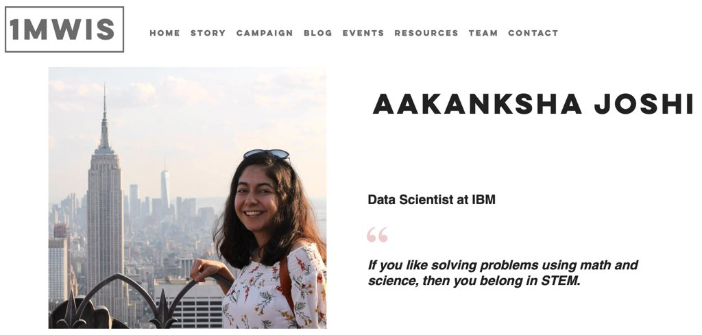 I feel honored to have been featured by @MillionStem, an amazing campaign to share stories of STEM women to inspire the next generation of girls. Sharing your story and nominating others are both easy:  http:// 1mwis.com     .   https://www. 1mwis.com/profiles/Aakan ksha-Joshi   …   #WomeninSTEM #SheCanSTEM <br>http://pic.twitter.com/EQdKJI43Jg