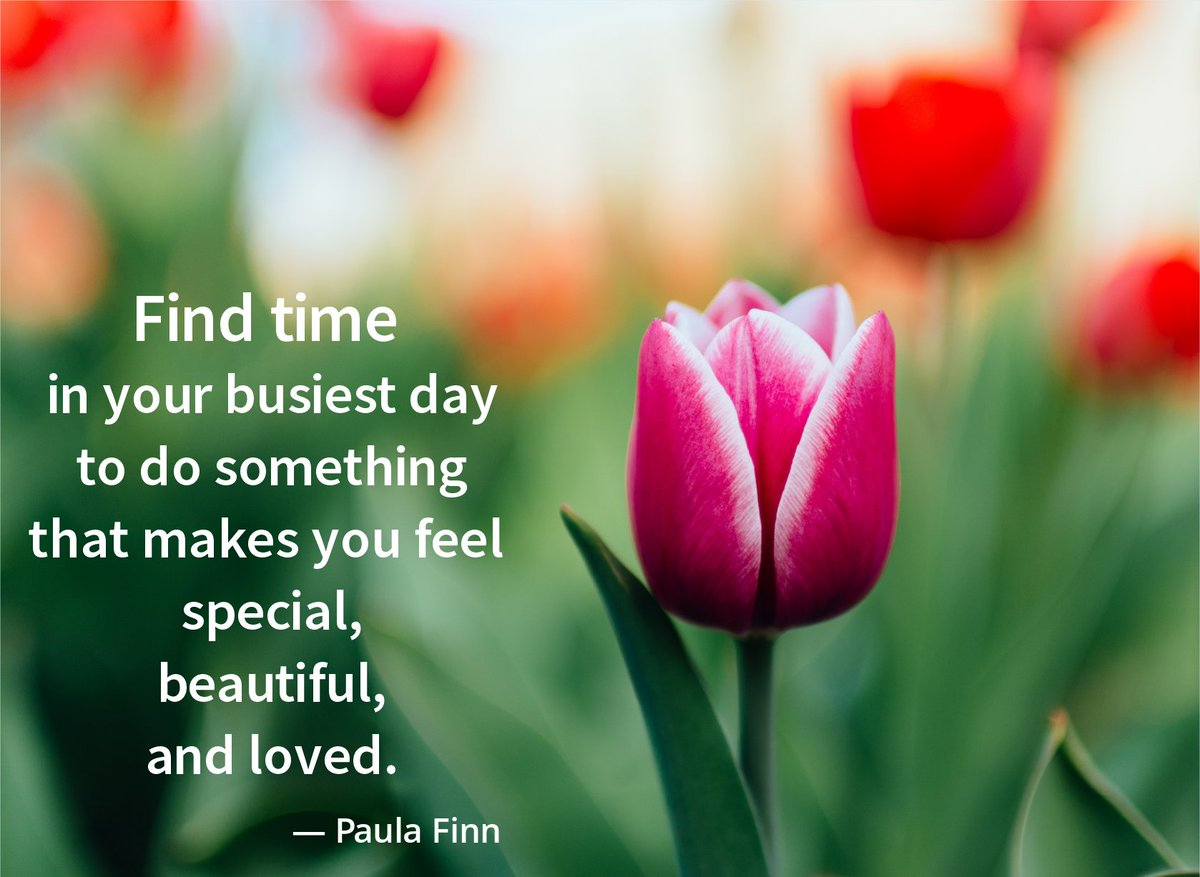 Find time in your busiest day  to do something  that makes you feel special,  beautiful,  and loved. ~ Paula Finn @QuoteILoveU #inspirational #quote #lifequotes #wordstoliveby #special #beautiful #loved #tulips #redtulipspic.twitter.com/JcosLEUSCU