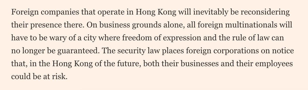 FT editorial cautions foreign companies on doing business in a HK that is no longer autonomous and free; also calls for the EU to take a tougher stance on HK and against China broadly ft.com/content/5d3d7d…