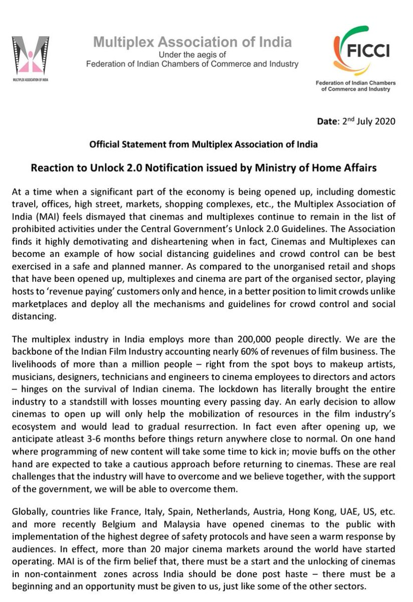 Official Statement from Multiplex Association of India On Unlock 2.0 Notification issued by Ministry of Home Affairs. https://t.co/7dp85tXnoj