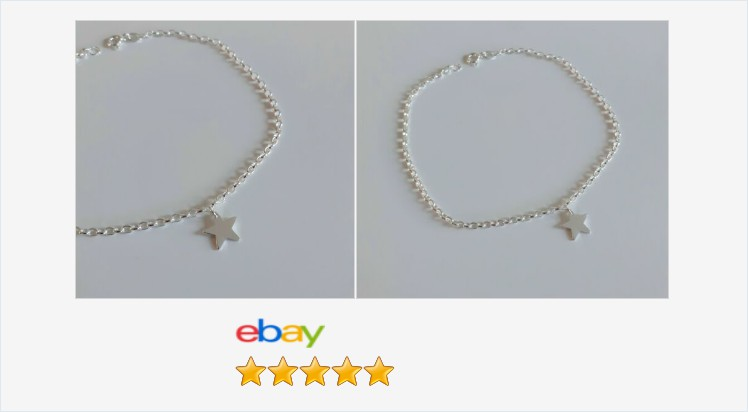 """Brand New 925 Sterling Silver 10"""" oval belcher star charm anklet - boxed 