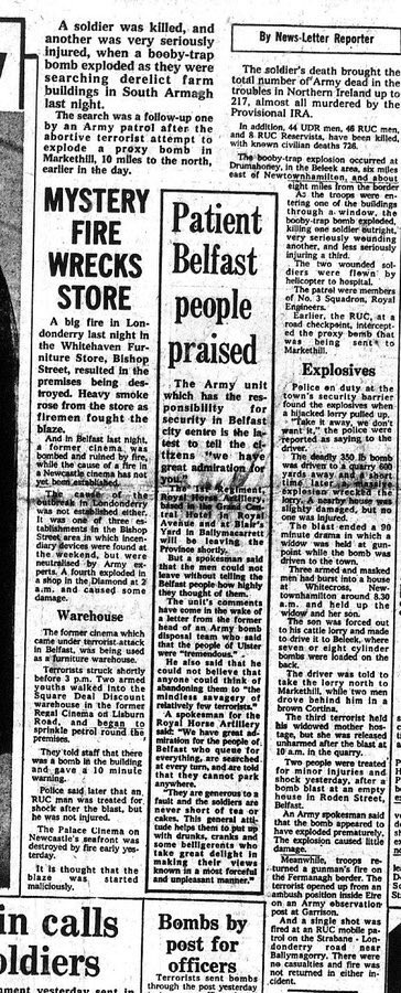 #OnThisDay in 1974 the IRA murdered John Walton, 27. Soldier murdered when booby trap exploded in derelict house near Newtownhamilton. Widowed mother, she'd lost husband 2 yrs earlier, told how son had joined Christian Aid mercy mission to drought hit Africa 9 months earlier #OTD