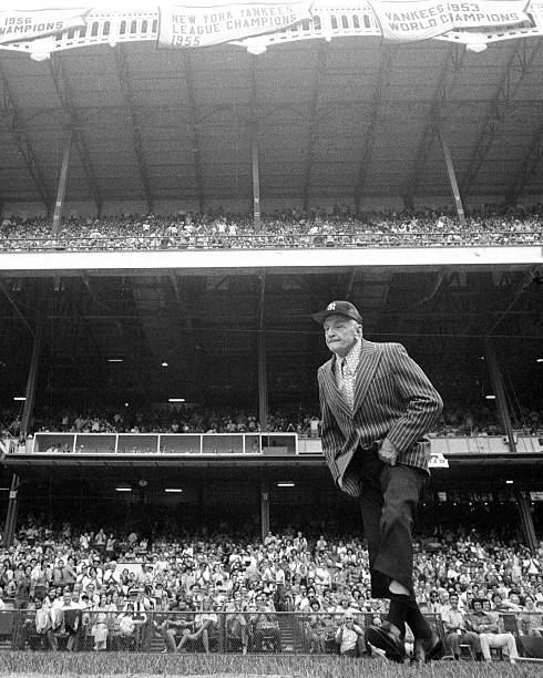 Give us this day our daily Casey Stengel photo(s).  The irrepressible octogenarian, raconteur, peerless leader and erstwhile left-handed dentist receives the plaudits of the Yankee Stadium crowd as he appears at the Yanks' 27th annual Old-Timers' Day festivities (8-11-'73). <br>http://pic.twitter.com/iiTtPSB2x8