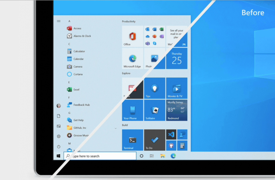 Windows 10's Start menu is getting a visual refresh