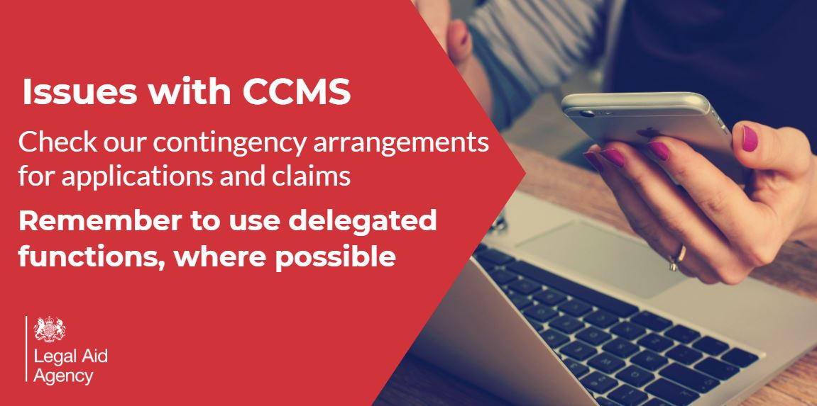 Latest information: contingency guidance has been updated for applications and claims to help #legalaid providers.   We continue to work to fix the issues with CCMS.  Please read this information to make sure your #lawfirm is paid correctly: https://t.co/kgDB6wjxxx https://t.co/vvPZsEcn8F