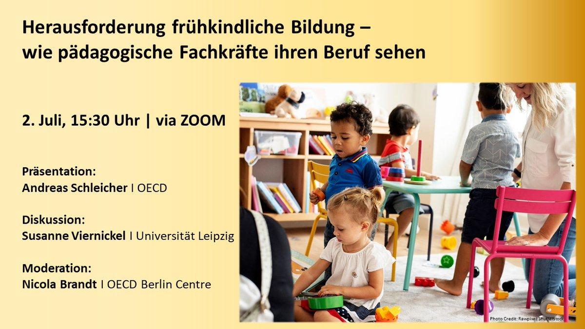 Jetzt noch schnell anmelden für unser #Webinar! Heute geht es um frühkindliche Bildung und die Sicht von pädagogischen Fachkräften auf Arbeitsbedingungen, Lernansätze und Zukunftsperspektiven. Seien Sie dabei ⤵ events.oecd-berlin.de/events.html?id… #TALISStartingStrong