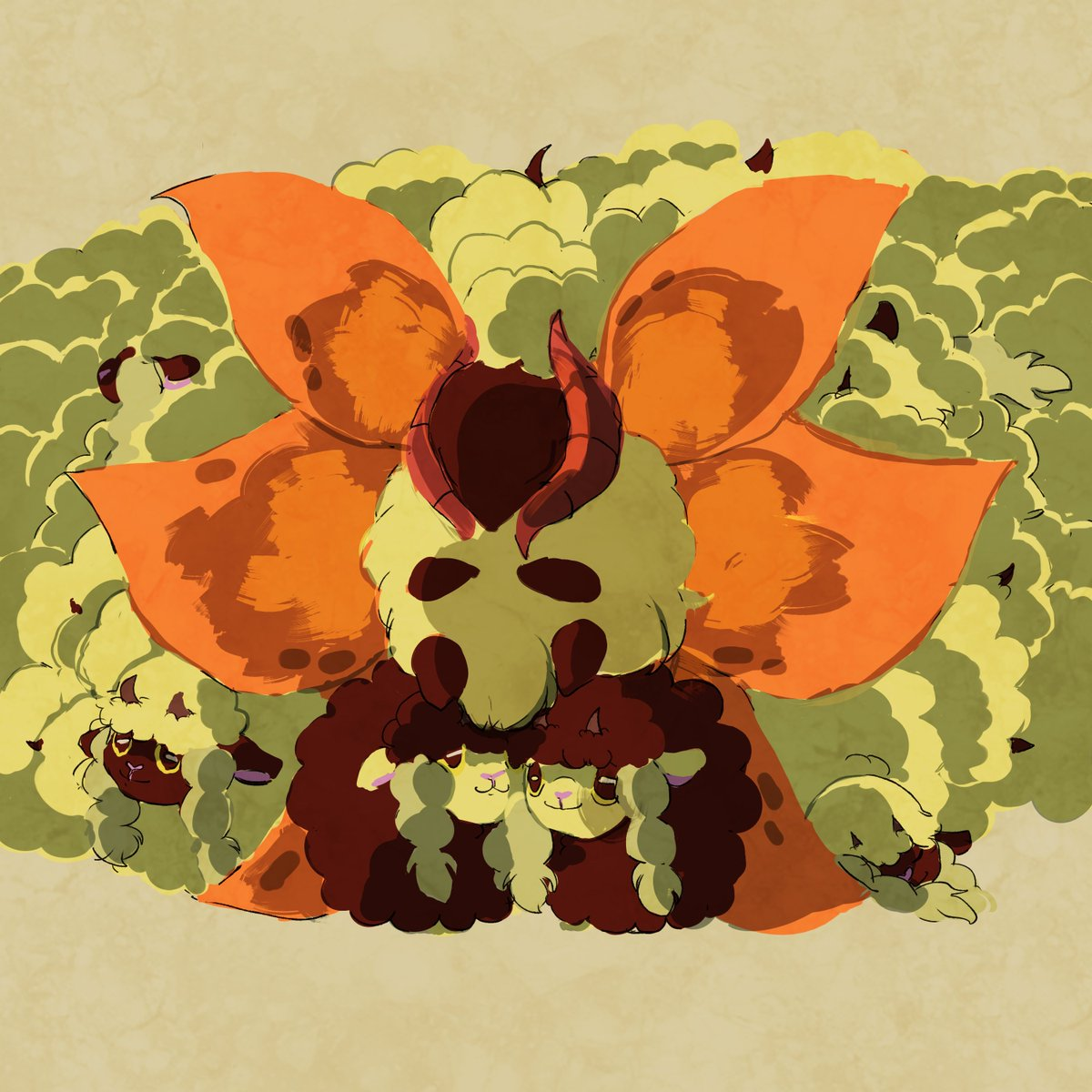 a family can be two black sheep, their 878 white siblings, and their moth uncle with flame body #Pokemon