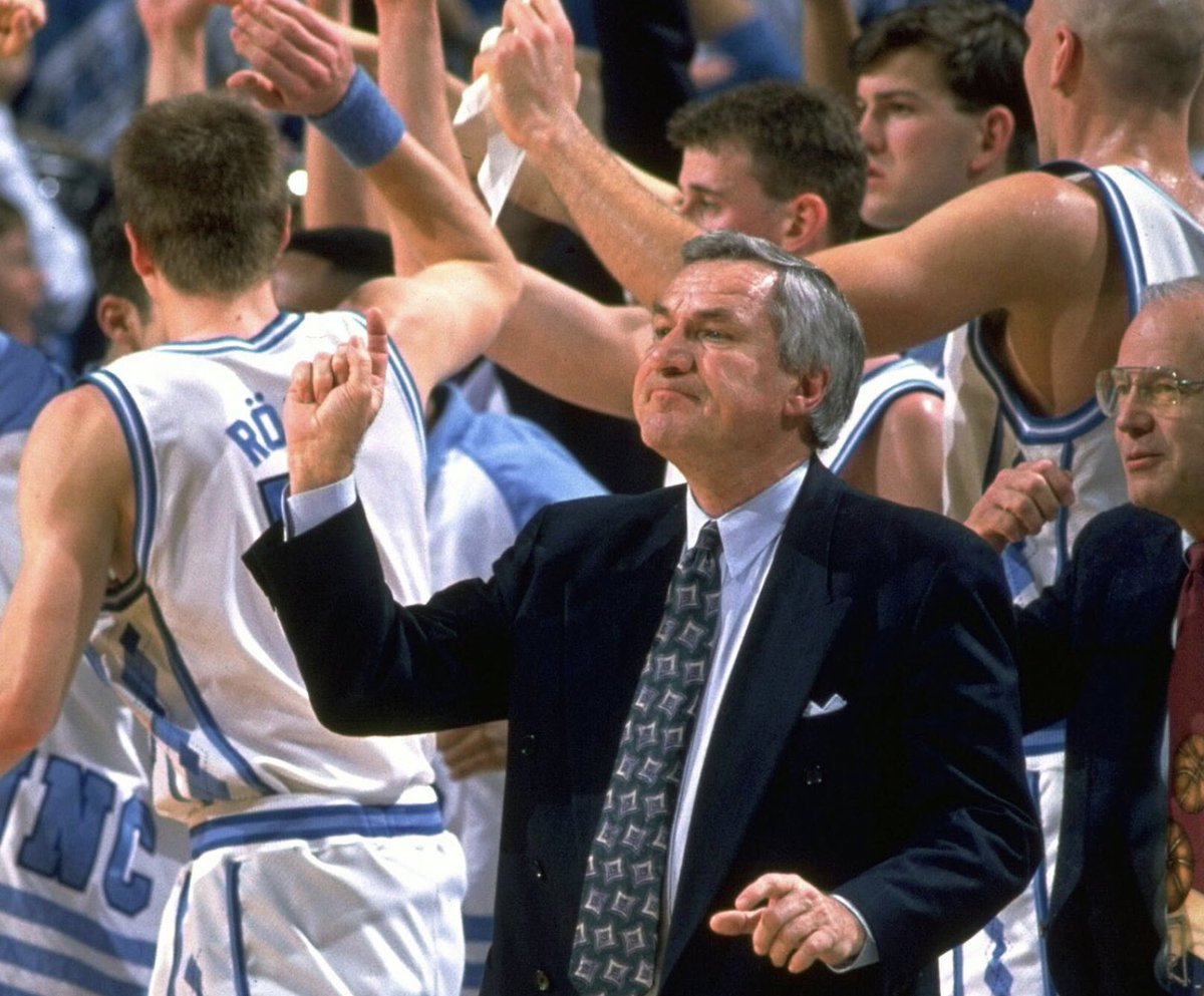 Hall-of-Famer Dean Smith was head coach of the North Carolina Tar Heels from 1961-1997 and won 879 games, 2 national titles, 11 Final Four appearances, 17 ACC titles and 13 ACC Tournament championships.  #CollegeBasketball #UNC #60s #70s #80s #90s pic.twitter.com/XrVhcV2aLm
