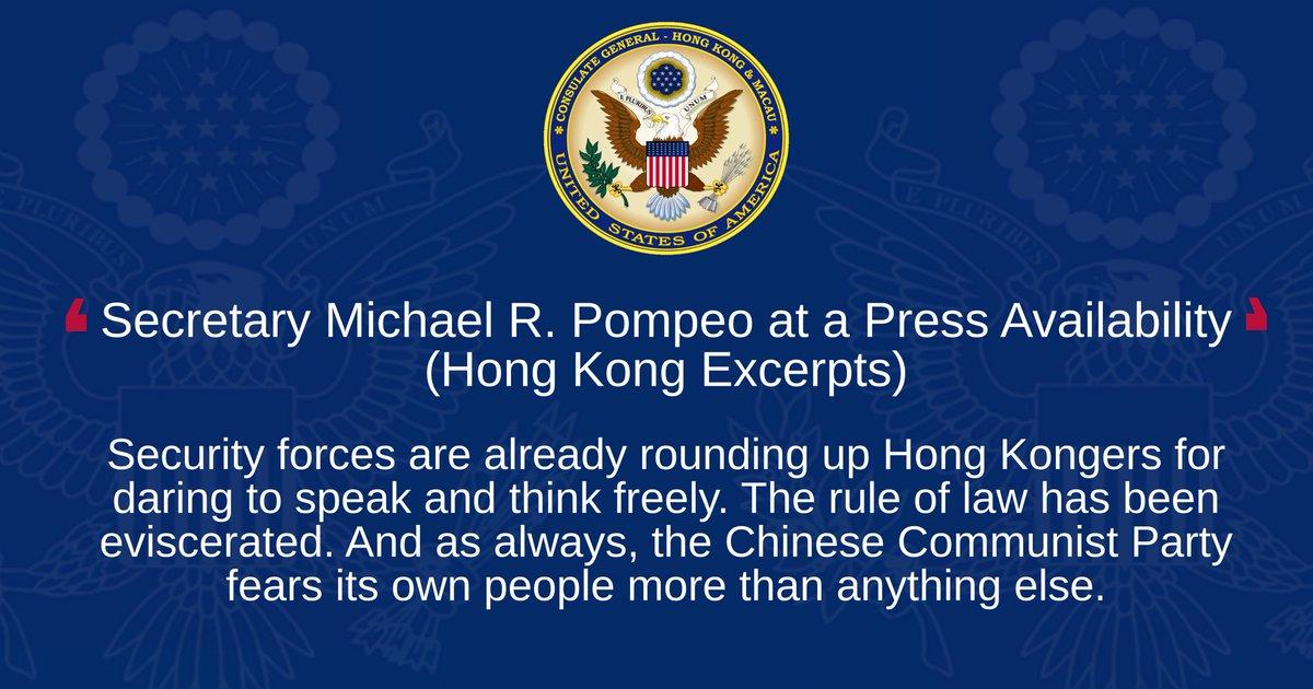 Secretary Michael R. Pompeo at a Press Availability (Hong Kong Excerpts)  Details: https://t.co/EJizRIgQwv https://t.co/rcxq2Gat22