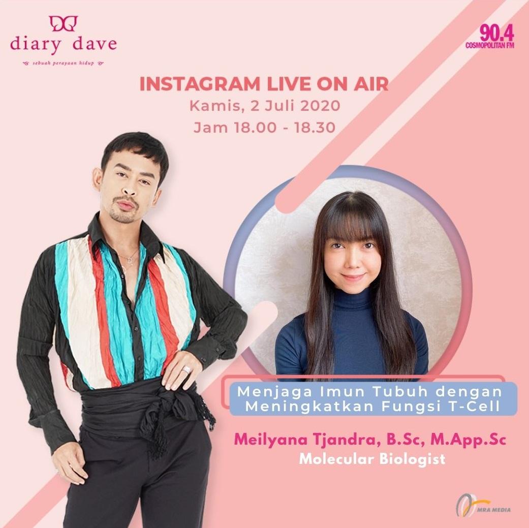 Dengar dan saksikan Instagram Live On Air bersama Meilyana Tjandra seorang Molecular Biologist dari Anho Bioprima, di Diary Dave, Kamis 2 Juli 2020, jam 18.00 - 18.30 WIB, hanya di 90.4 Cosmopolitan FM! #DiaryDave #DaveHendrik https://t.co/uU8rUTrAfi