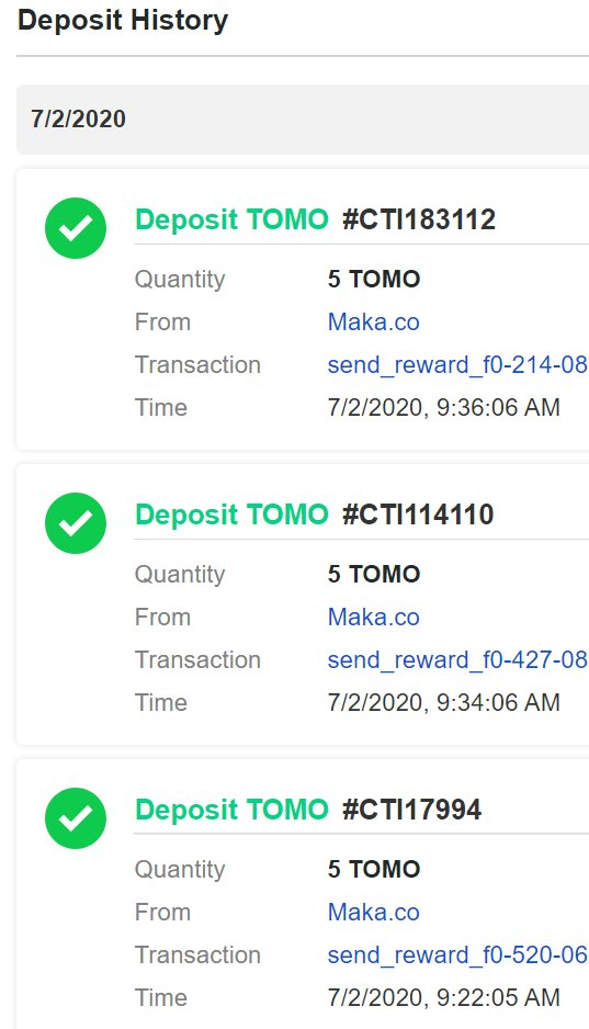 1/ Getting some $TOMO rewards already for yall who signed up using my invite code on Maka.co. Thank you!