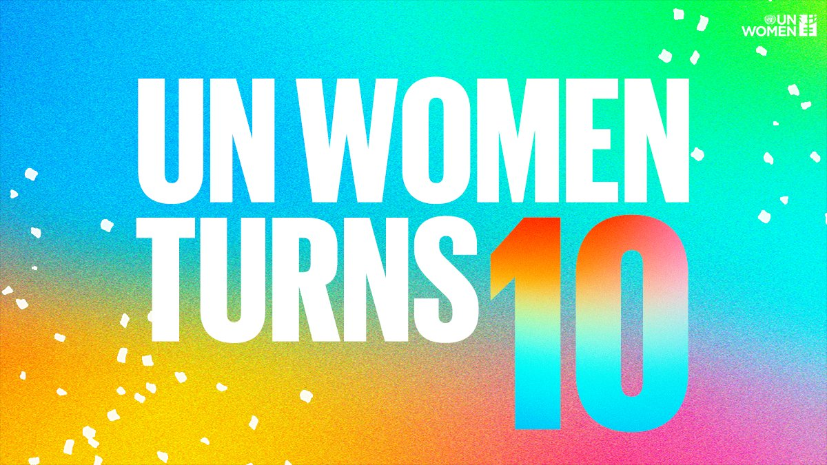 Today, on our 10th birthday, we are determined as ever to  ✨ promote women's empowerment, ✨ women's rights & ✨ gender equality globally.   RT if you're with us for another 10. #GenerationEquality https://t.co/VVTYPjMUmp