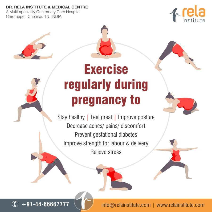 Exercise regularly during pregnancy.  #pregnancy #exercise #healthylife #pregnancyexercise #stayhealthy #relievestress #rela #relainstitute #rimc #relahospitalpic.twitter.com/fp5vArwvRW