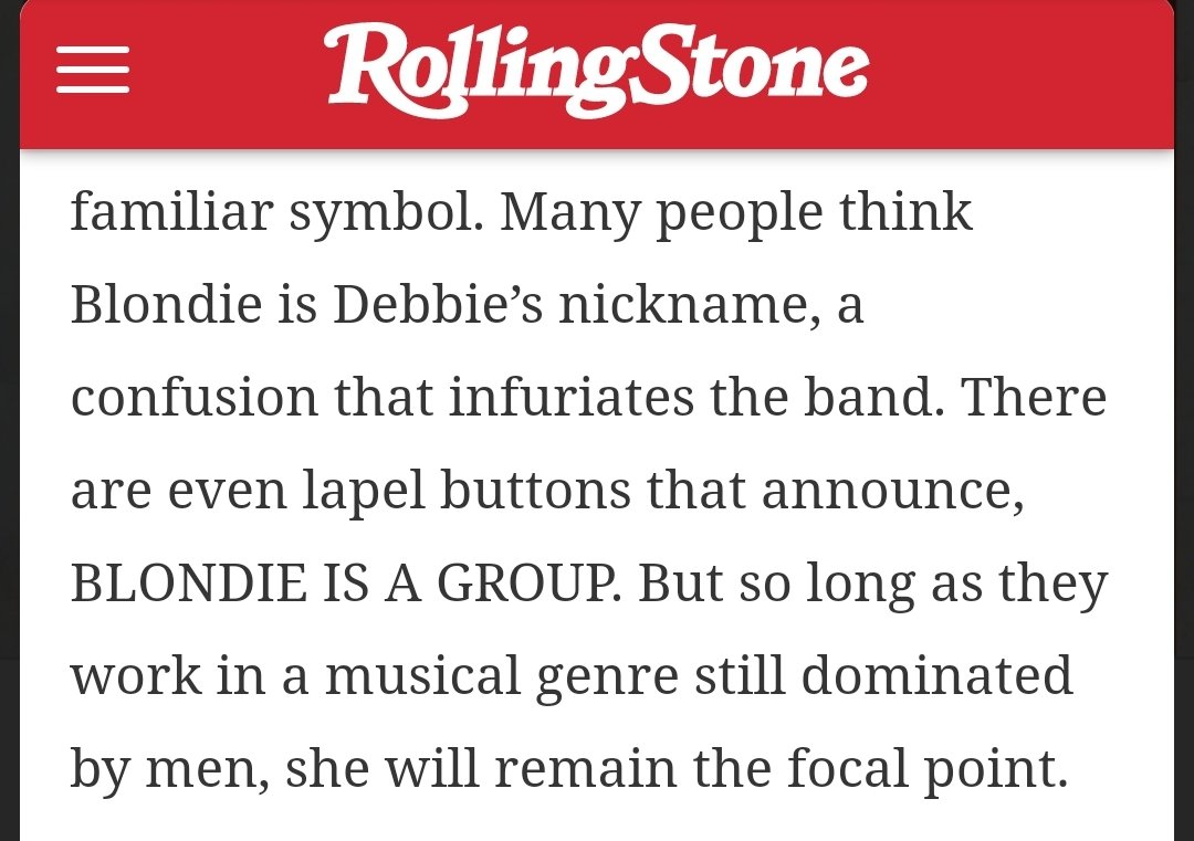From the 1979 Rolling Stone cover story on Blondie, & one of the buttons mentioned