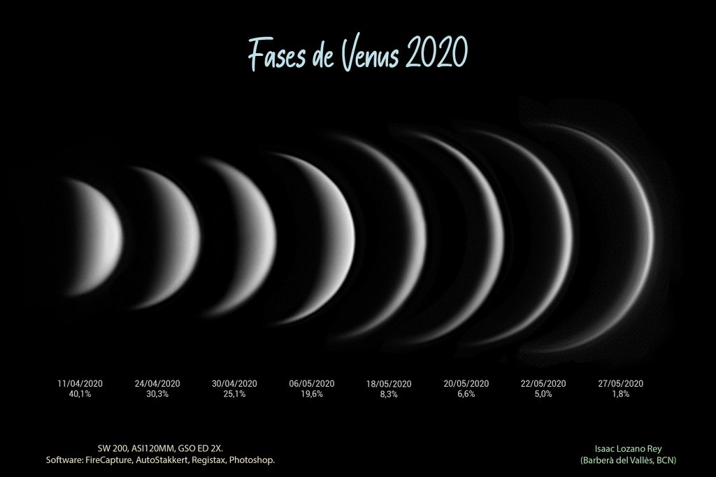 #Venus phases !!! Images done in 2020 by Isaac Lozano an @AstroSabadell member.   It's not the moon ! It's Venus! https://t.co/45vLlVhAtW
