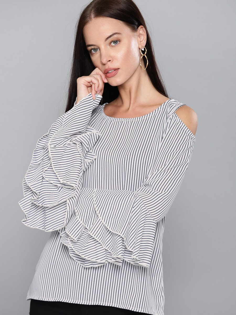 Women White & Navy Blue Striped Cold-Shoulder Top Shop at : https://bit.ly/2YQm59L . . #SummerIsHere #TheSpringSprit #fashion #fashionlover #ootdfashion #traditional #shoponline #desiwear #indiantraditionalwearpic.twitter.com/N1b9hyPYsx