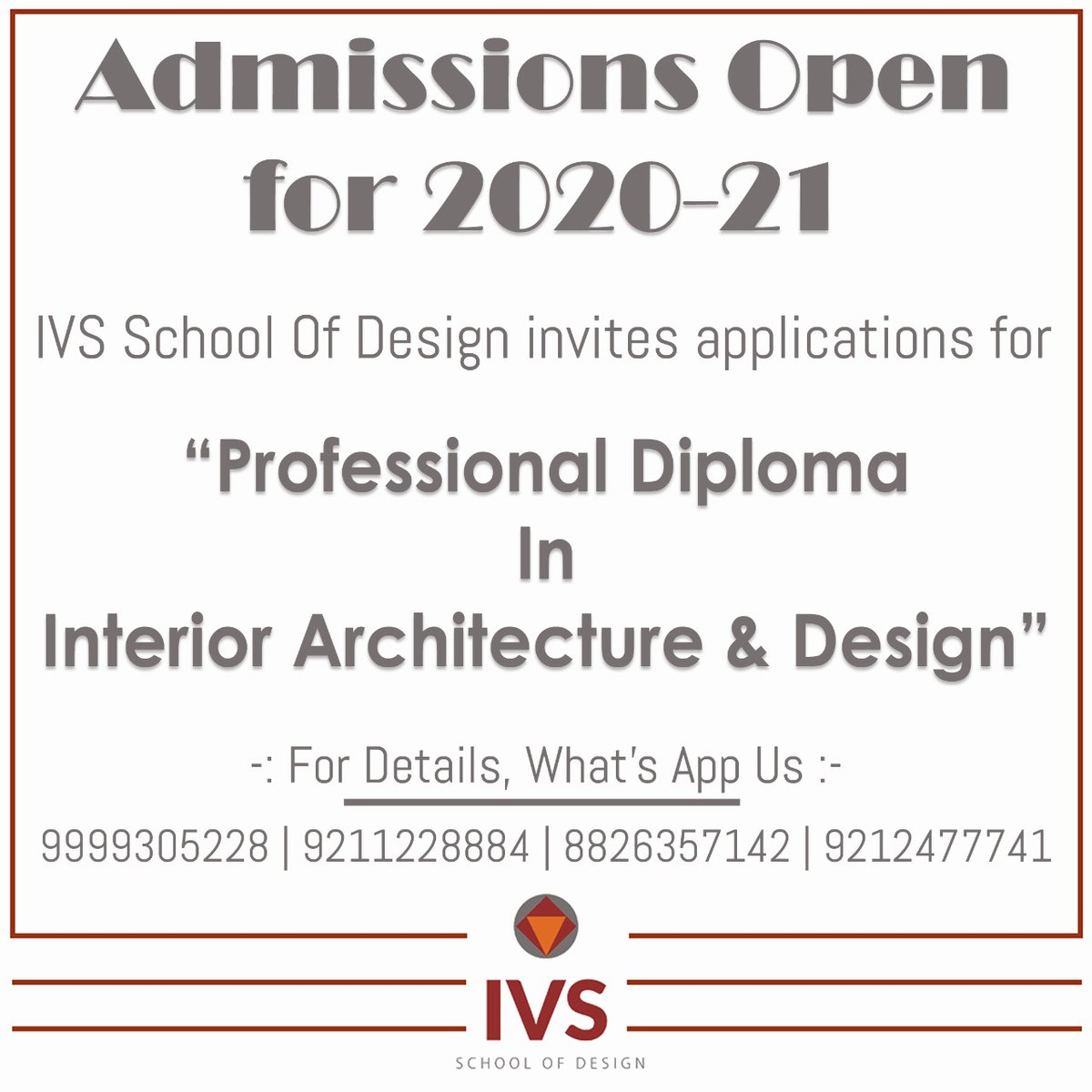 Professional Diploma in Interior, Architecture & Design curriculum is developed in collaboration with professionals in the interior architecture design world. Visit Now- http://www.ivsindia.com  9999305228, 9211228884, 9212477741, 8826357142 #Interior #Design #InteriorDesignpic.twitter.com/0DxeHAzM78