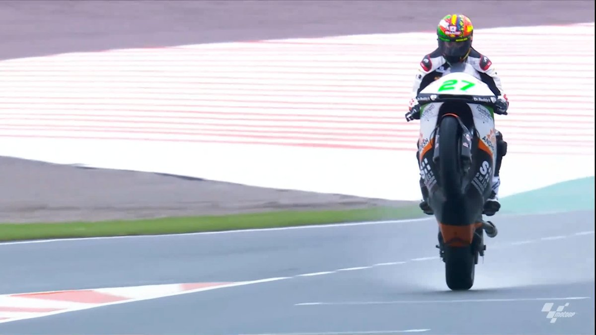 Nothing would rain on @LecuonaIkers parade! 💪 The Spaniard would shine at a wet 2018 #ValenciaGP to take his first career podium in #Moto2 and he picks this as his best race 🏆 #MotoGP
