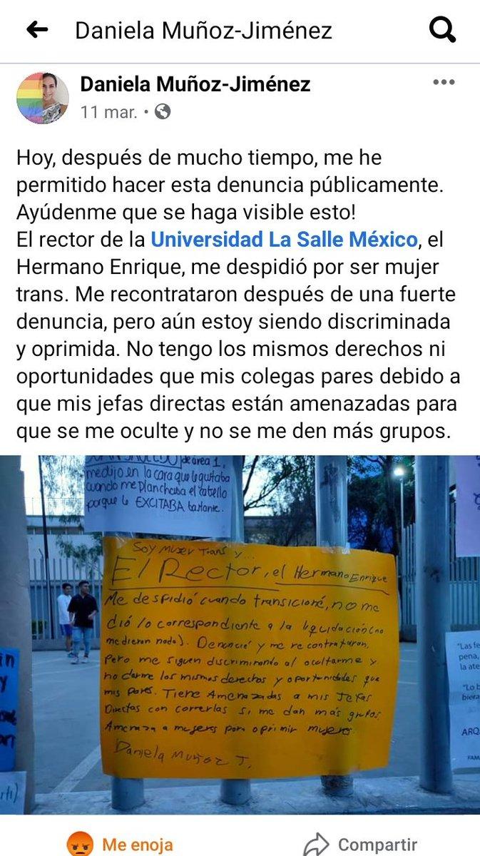 @LaSalle_MX  ¿Neta así arreglan sus problemas? ¿Dejando a esta docente sin trabajo  INJUSTIFICADAMENTE?  #LaSalleTransfobica   Compartan 🙏🏼 Aquí el testimonio de Daniela: https://t.co/ltInzaHS8B   Espero puedan verlo https://t.co/IrBsucItg5