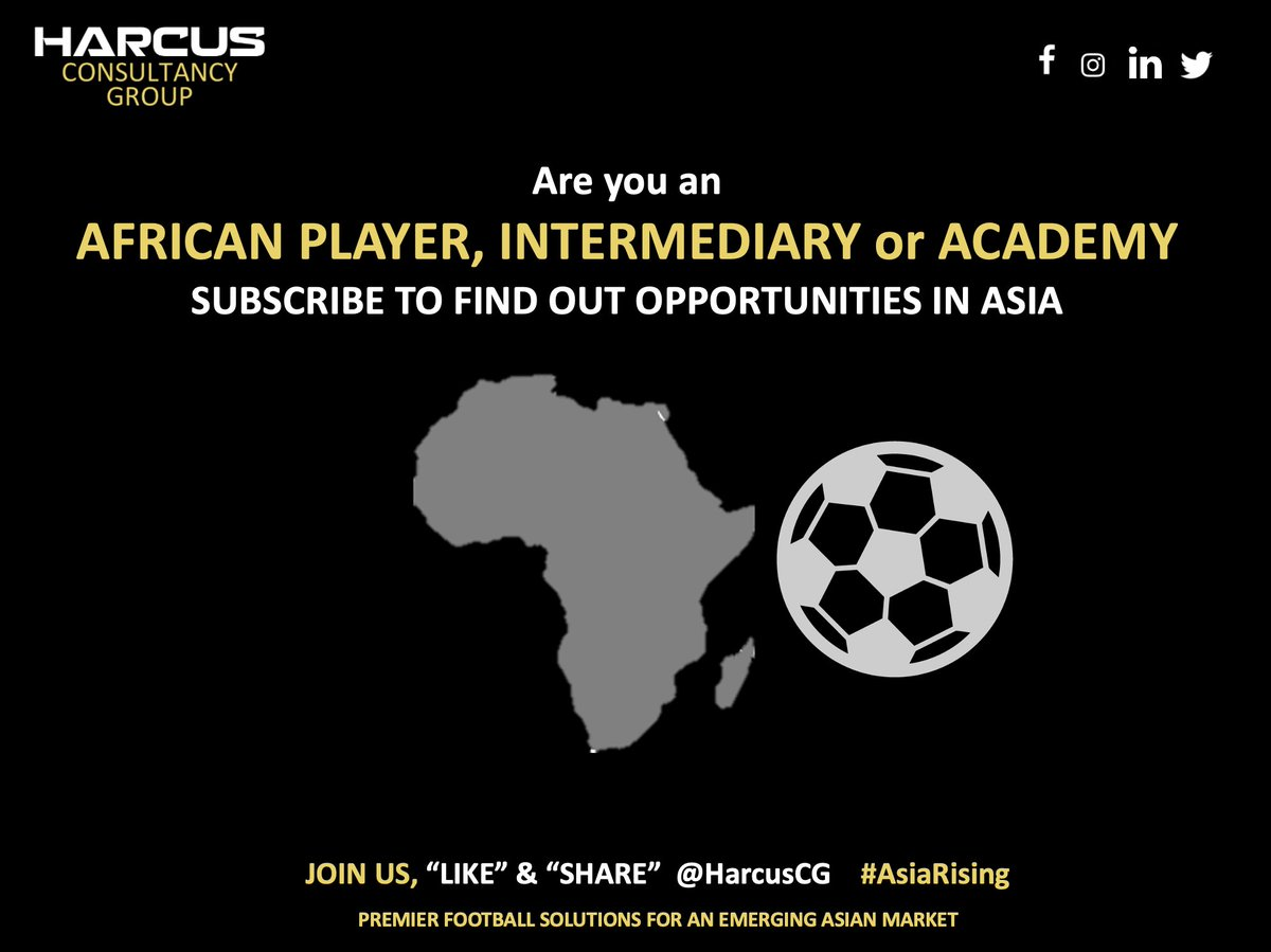 Are you a football player, agent, academy from Africa? We are often asked about opportunities in the Asian market. If you'd like info, click the link: https://harcuscg.com/pro-player-showcases… #football #soccer #scouting #asiarising #aseanfootball #africa #africanfootball #education #educationpic.twitter.com/dLoBW2MYEw
