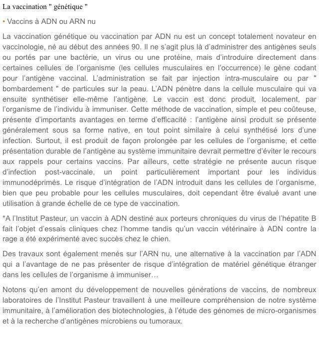 Enfin, les vaccins génétiques ou «vaccins à ADN» vont encore plus loin :   De l'ADN génétiquement modifié est directement injecté via des vecteurs viraux dans le corps du patient, et s'insère dans ses noyaux cellulaires.  1er tests sur l'humain : 2020 https://www.gazettelabo.fr/archives/pratic/2002/64VACCINS.htm…pic.twitter.com/lzrGlSNxGg  by Dr Gonzo