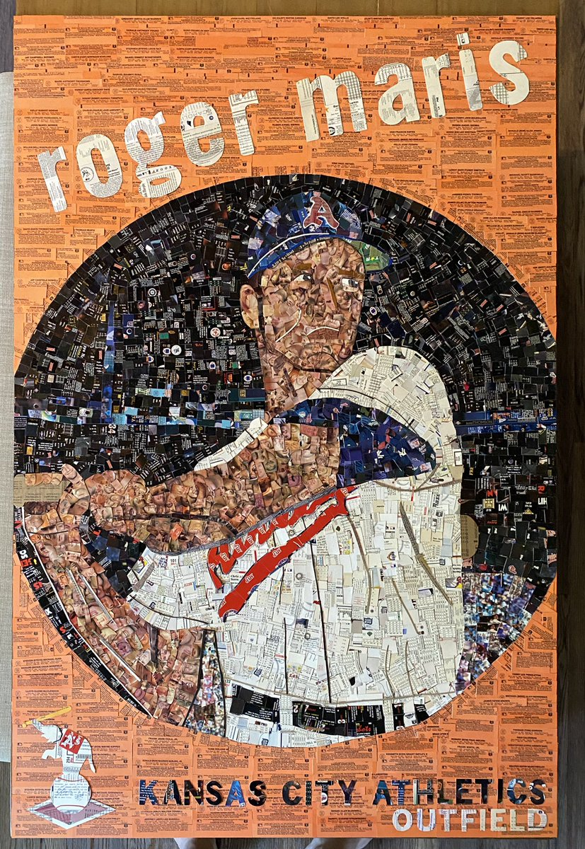 "The Roger Maris #cutsportscards mosaic is DONE. This is a tribute to his short A's stint and his 1959 Topps card.  It's very large, approx. 30""x40"". This weekend I'll give it a coat of glaze to preserve it and it'll hang in my game room. #sportsart #Athleticspic.twitter.com/THv9sDBqrP"