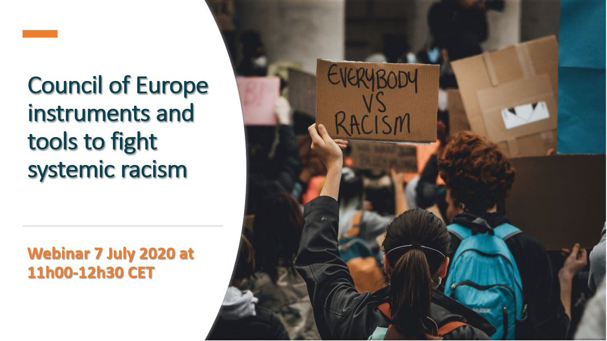 ⏰Join us next week 7 July at 11 am CET when our panel will discuss how to combat systemic racism and create anti-racist societies with Council of Europe tools   The webinar will be live on Facebook https://t.co/svOfsaQLiQ  For more info and to register 👉https://t.co/GcgXGQiGid https://t.co/Sw764RbUto