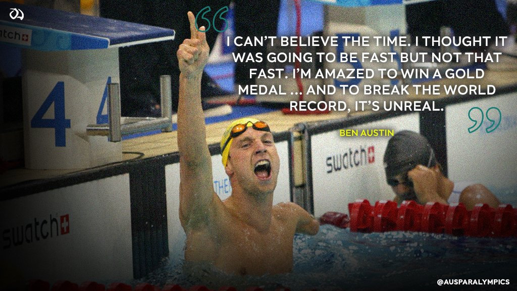This #throwbackthursday, we relive the moment Ben Austin won gold in the 100m S8 freestyle at #Athens2004 in a world record time of 59.83sec, becoming only the second swimmer with one arm to go under the 1 minute mark.    Full story: https://t.co/mzJdicJT31  #ParaSwimming https://t.co/gfI7prZBLK