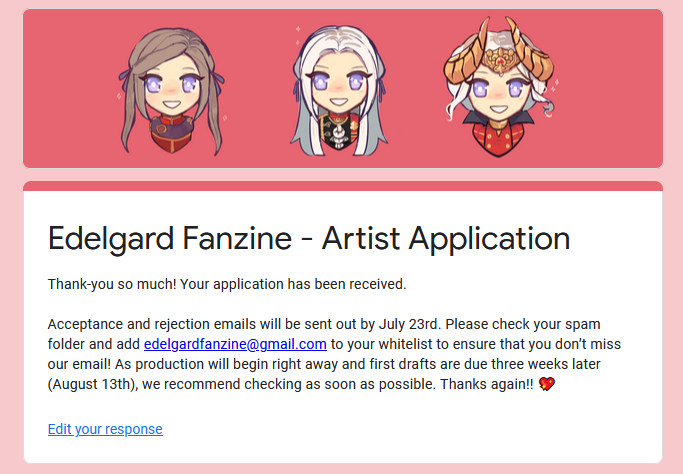 And here we go! @EdelgardFanzine is hosting a zine for artworks of, you guessed it, Edelgard, and I just submitted my application. Wish me luck! #fireemblem #FireEmblemThreeHouses #FireEmblem3Houses #artzine #art<br>http://pic.twitter.com/t83y9i9l2g