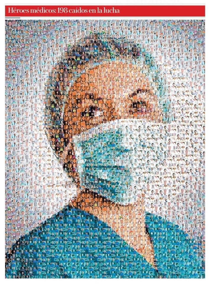 A portrait made up of 198 doctors and nurses who have passed away during the pandemic at the frontline. Enlarge and see. https://t.co/iW8zRntrw3
