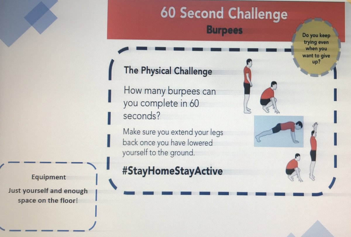 Part 2  - It's Sports Day today! How many of these 60 second challenges can you do? Record your results and don't forget to tell us which house team you are on #lovetolearnlearntolovepic.twitter.com/YrMoZCF4rn