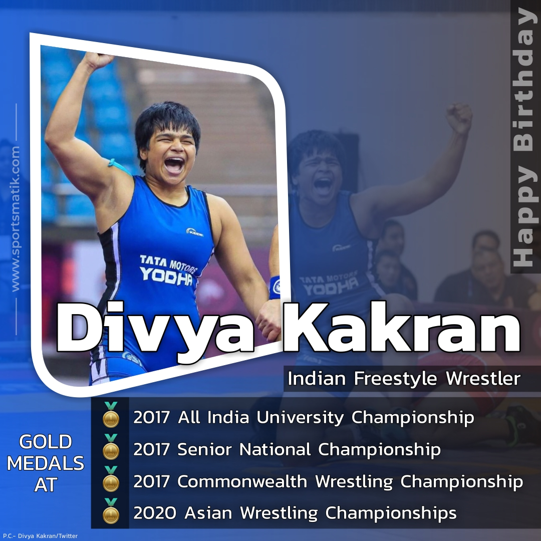 #Sportsmatik wishes a very #HappyBirthday to @DivyaWrestler, who has won over 60 medals, including 17 gold medals at the Delhi State Championship, and won the Bharat Kesari title eight times.  https://t.co/69leEOAt1N  #happybirthdaydivyakakran #sportslife #wrestler https://t.co/R6vIPyeG5U