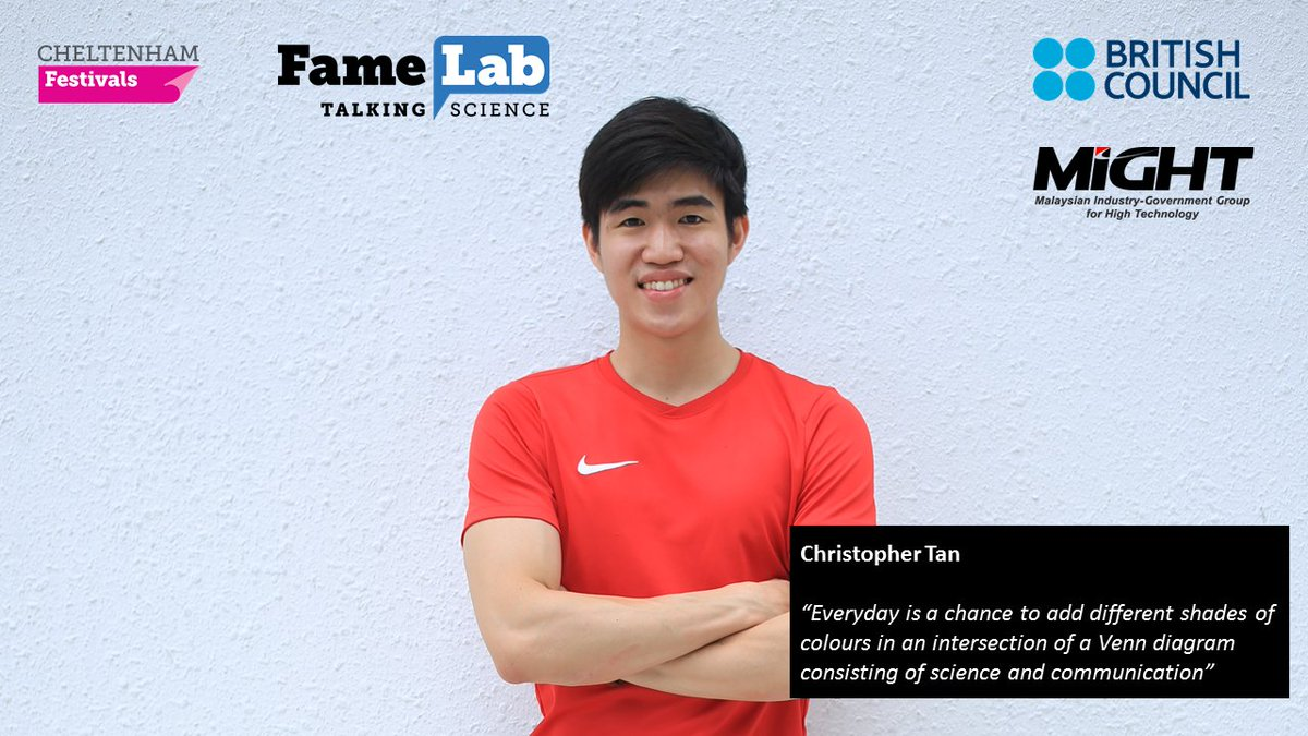 Introducing the FameLab 2020 Finalists! Meet Christopher Tan, who will talk about 'Transparent solar cells: Windows of opportunity'. Watch his presentation on 9 July at 10 a.m. Stay tuned for the live event https://t.co/A2gG87Go7Q  #talkingscience #cheltscifestathome #stayhome https://t.co/NM9VCCNd1k