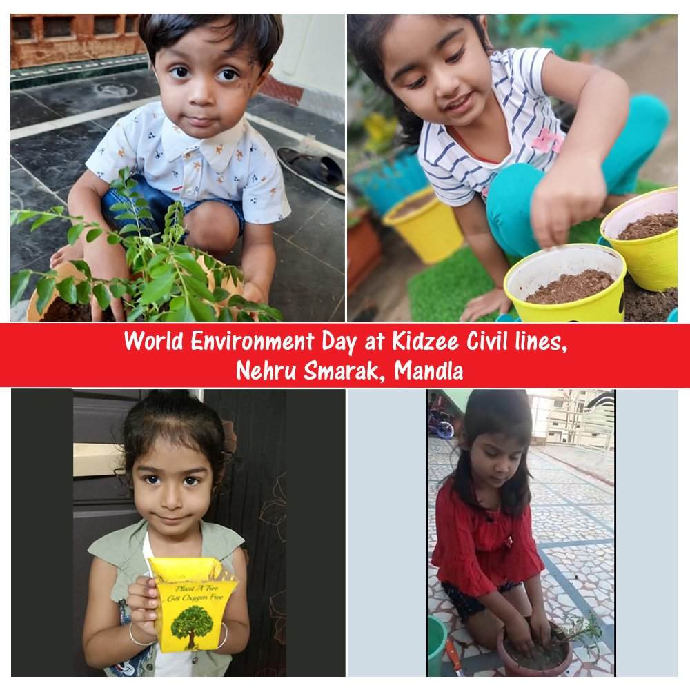 World Environment Day was celebrated by students belonging to Kidzee Civil lines, Nehru Smarak, Mandla wherein they grew a plant & made a promise to nurture them daily.  #Kidzee #KidzeeStudents #EnvironmentDay #WorldEnvironmentDay2020 #Plants #Trees #ProtectMotherEarth #Throwback https://t.co/1s2YkaPGig