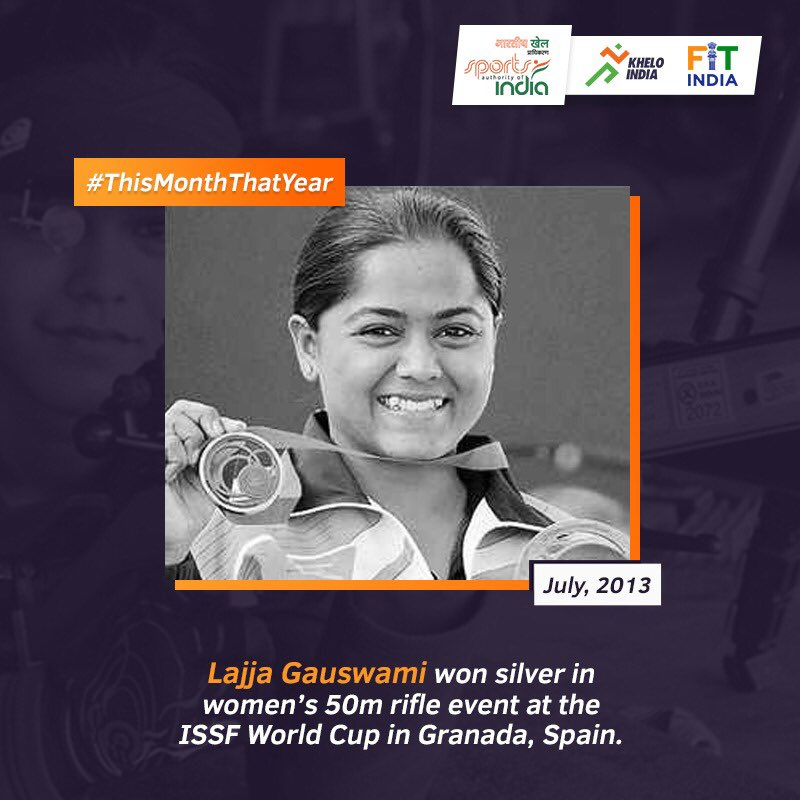 In July 2013, Indian shooter @lajjagauswami clinched a Silver medal in women's 50m rifle 3 position at the ISSF World Cup in Granada. Want to share your inspiring story from July? Share it using #ThisMonthThatYear. @KirenRijiju @DGSAI @RijijuOffice @ISSF_Shooting @OfficialNRAI