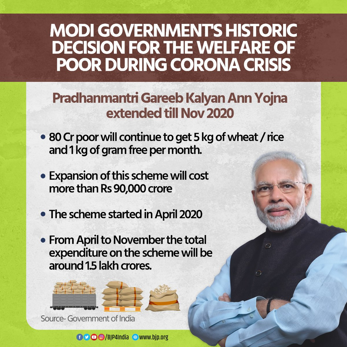 Modi government is standing beside the poor during #COVID crisis.   The government has extended PM Gareeb Kalyan Anna Yojana till November 2020, providing 80 crore people free ration at an expenditure of Rs 90,000 crore.  #pmmodi #bjp4india #AmitShah #modisarkaar2 https://t.co/bkhutddLkd