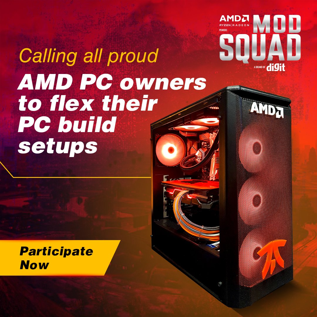 Calling all proud @AMD PC owners to show off their PC Build setups. Top 70 participants to win cool rewards. To participate, click on the link below #AMDIndia, #DigitMODSquad #ContestAlert #GiveAway  https://t.co/4XRLDiq4XL https://t.co/WrQa2tsZVY
