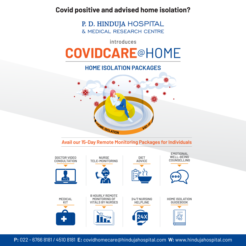 P.D. Hinduja Hospital introduces COVIDCARE@HOME for mild symptomatic or asymptomatic COVID19 patients, who have been advised home isolation. For details; call 02267668181 / 022 45108181, 8 am to 7 pm or visit https://t.co/1kaL1EAbSh https://t.co/VSMgXwFNlx