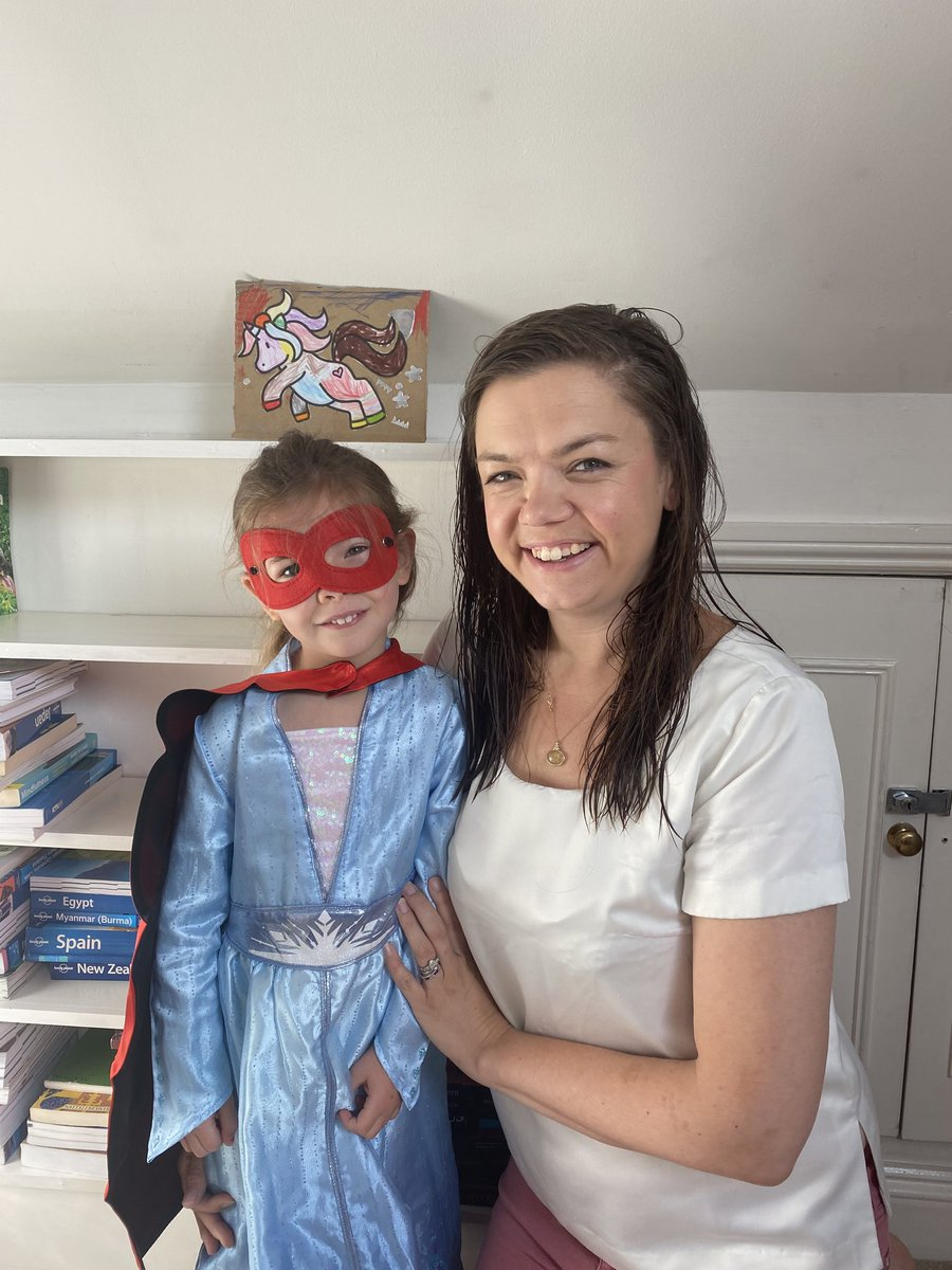 We've decided on a shelf for the unicorn.   Thanks to all for kind words normalising the work-parent balance that so many are juggling amid #covid19 chaos   @BBCNews @haynesdeborah  Today Scarlett wants to be #superheroelsa https://t.co/byMbCPrZQD