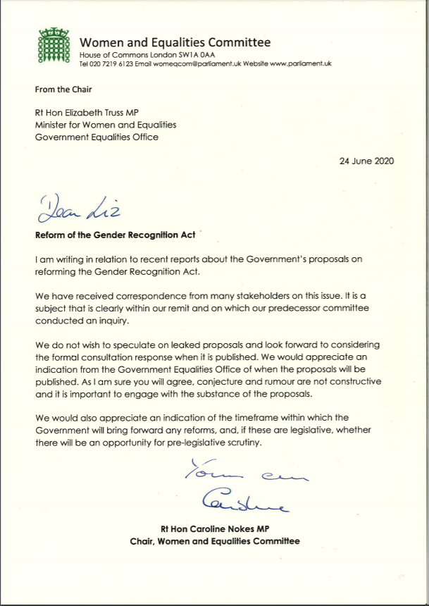 ✍️We wrote to the Minister for Women and Equalities @trussliz to ask about the publication of proposals for the Gender Recognition Act. Read her response here 👇committees.parliament.uk/publications/1…