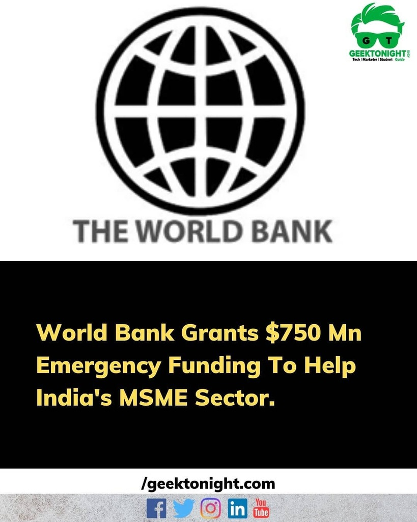 World Bank on Wednesday said that it be granting $750 million as a loan to India for emergency aid to help strengthen the micro, small and medium enterprises (MSMEs), the backbone of the country's economy, to fight the impact of COVID-19 on their businesses. The Bank said in… <br>http://pic.twitter.com/hBGVIylHxF