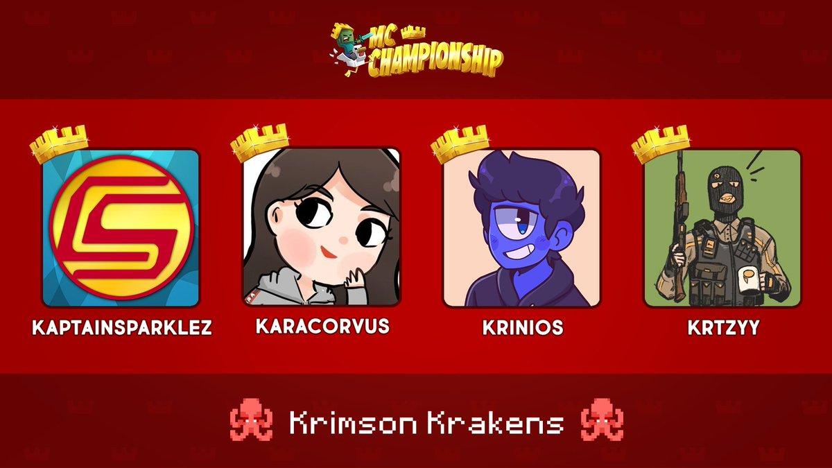 👑 Announcing Team Krimson Krakens! 👑  @CaptainSparklez @KaraCorvus @Krinios @Krtzyy   Watch them compete in the MC Championship on Saturday 18th July 8pm BST!  https://t.co/RtzyjRhWOm https://t.co/TwKVg4LQu3