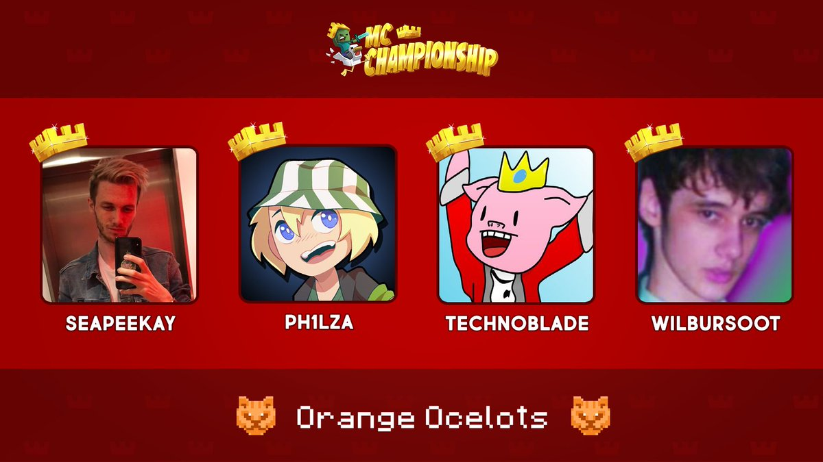 👑 Announcing Team Orange Ocelots! 👑  @Seapeekay @Ph1LzA @Technothepig @WilburSoot  Watch them compete in the MC Championship on Saturday 18th July 8pm BST!  https://t.co/RtzyjRhWOm https://t.co/ZWbBqqDMAg