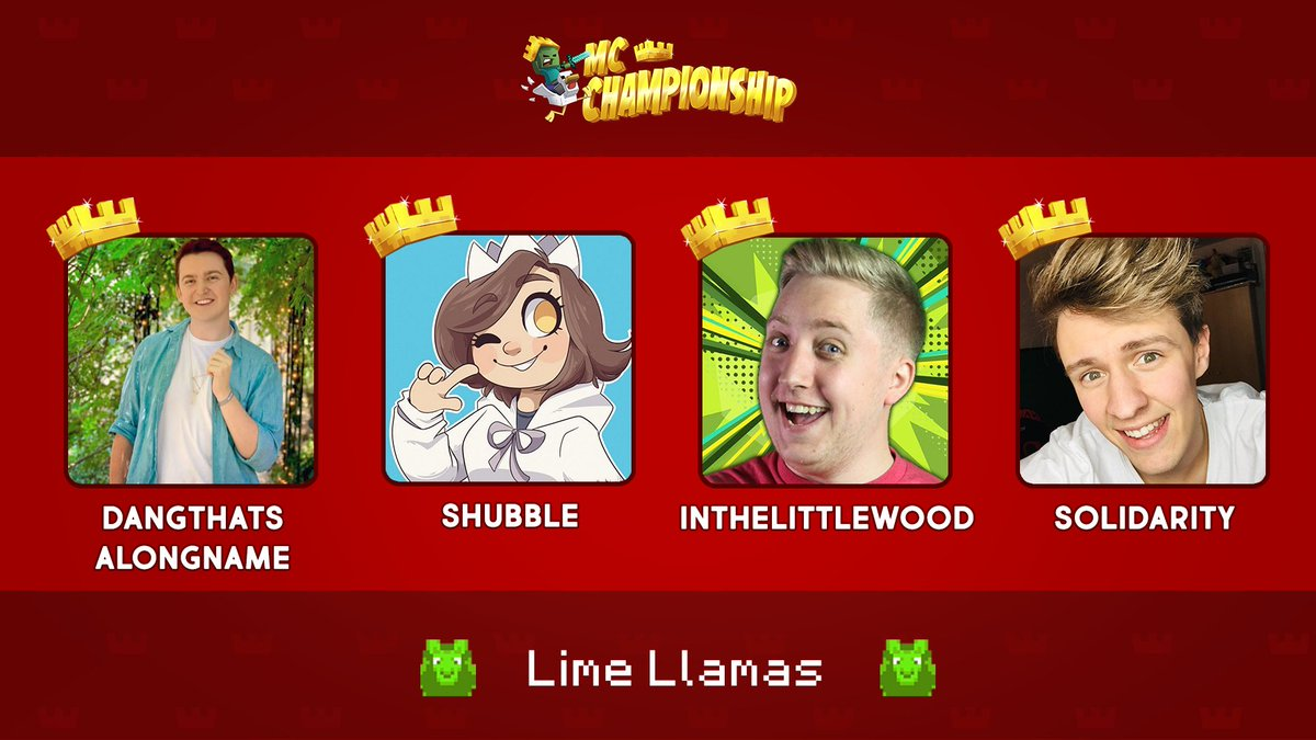 👑 Announcing Team Lime Llamas! 👑  @Smajor1995 @shelbygraces @InTheLittleWood @SolidarityCoUK  Watch them compete in the MC Championship on Saturday 18th July 8pm BST!  https://t.co/RtzyjRhWOm https://t.co/cYNRh4IGBt