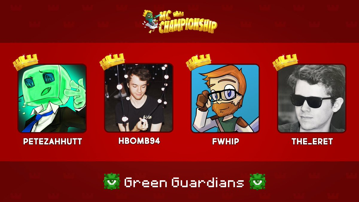 👑 Announcing Team Green Guardians! 👑  @PeteZahHutt @HBomb94 @Failwhip @The_Eret  Watch them compete in the MC Championship on Saturday 18th July 8pm BST!  https://t.co/RtzyjRhWOm https://t.co/CAGpD6wp1m